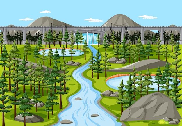 Dam in nature landscape scene