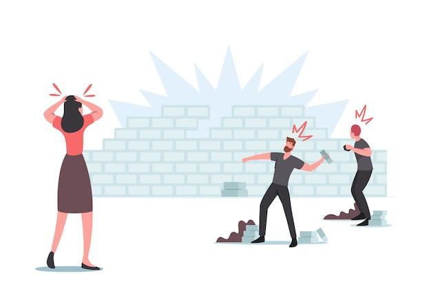 피해, 충돌, 공황, 폭력 폭동, 약탈, 공격적인 무리 행동 개념. 캐릭터가 벽돌 벽에 돌을 던지다