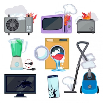 Damaged appliance icon set. broken household equipment fire stove microwave washing machine repair laptop computer vector