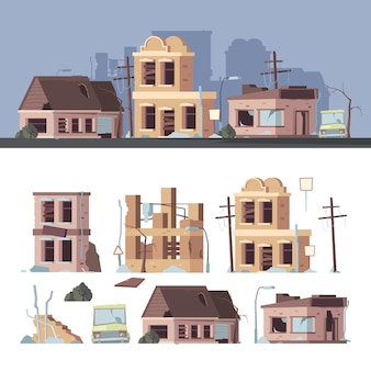 Damaged buildings. bad old trouble houses abandoned exterior wooden destroyed constructions vector collection set. illustration building damage, accident earthquake, architecture exterior