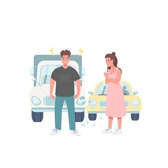 破損した車の運転手フラットカラー詳細キャラクター