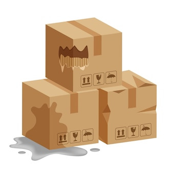 Damaged crate boxes 3d, broken cardboard box, flat style cardboard parcel boxes wet