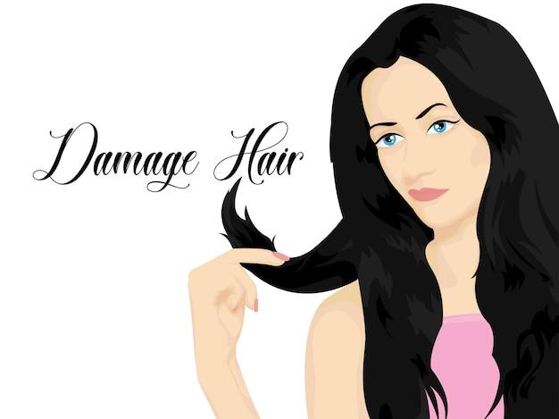 Damaged hair on white background