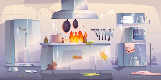 Damaged kitchen in restaurant, interior with fire