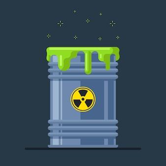 A damaged nuclear waste barrel emits radiation. ecological catastrophy. flat