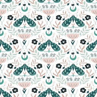Damascus luxury seamless pattern with floral and butterflies.