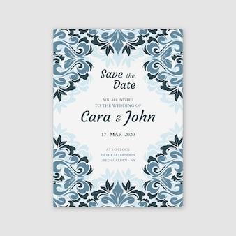 Damask elegant wedding invitation template