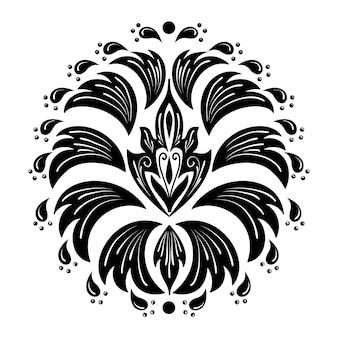 ダマスク要素。孤立したダマスク織の中央図。古典的な豪華な昔ながらのダマスク織の飾り