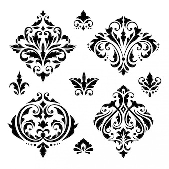 Damask floral baroque elements Premium Vector