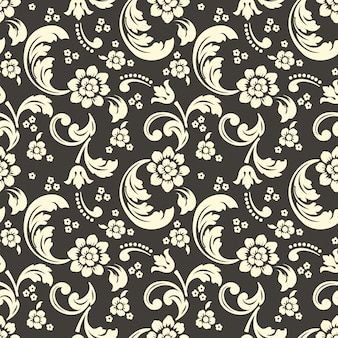 Damask and floral seamless pattern