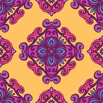 Дамаск цветочные бесшовные векторные шаблон винтаж стиле бохио