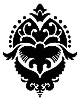 다마스크 꽃 잎 꽃 실루엣
