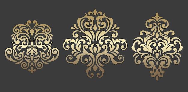 Damask graphic ornament. set of oriental vector damask patterns