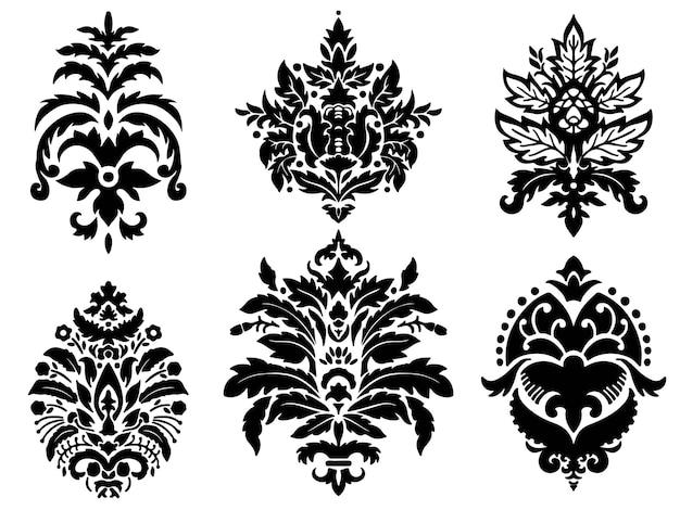 Дамаск орнаменты цветы и мотивы силуэт