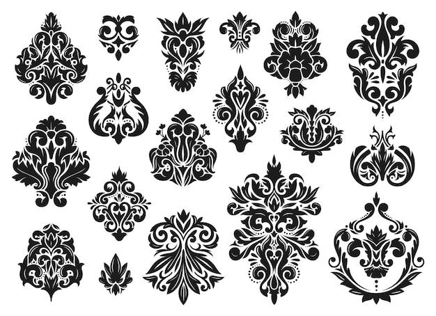 ダマスク織の装飾品ヴィンテージバロック装飾花の古典的な細線細工の装飾ビクトリア朝のベクトルセット