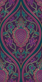 ダマスクパターン。紫と緑のフィリグリー飾り。