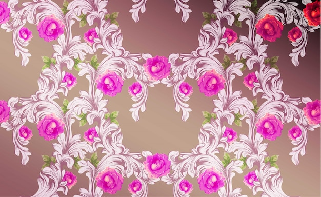 Дамаст шаблон с розовыми цветами ручной орнамент декор. барочные фоновые текстуры