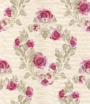 Дамаст с розовыми цветами