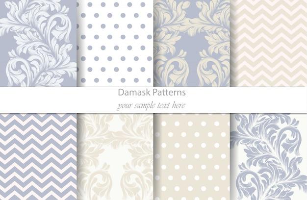 Damask patterns set, baroque ornament