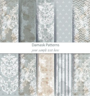 Damask patterns set collection