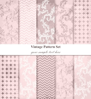 Damask patterns vector set, baroque ornament decor