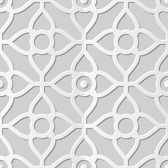Damask seamless 3d paper art curve cross flower