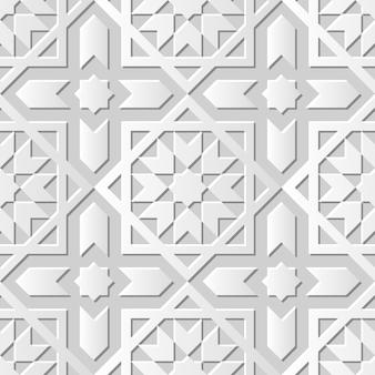 ダマスクシームレス3 dペーパーアートイスラムクロススター