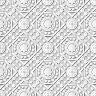 ダマスクシームレス3 dペーパーアートオクタゴンラウンドクロスフラワー