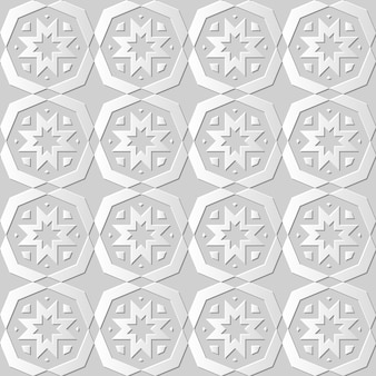 ダマスクシームレス3 dペーパーアートポリゴクロスフラワー