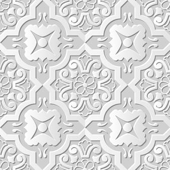Damask seamless 3d paper art spiral round cross