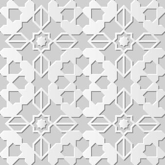 Damask seamless 3d paper art star cross geometry