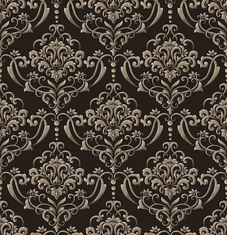 Damask seamless emboss pattern background. vintage exquisite floral baroque template.