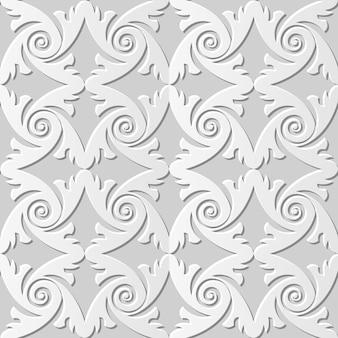 Дамаск бесшовные 3d бумага искусство спираль перо круглый