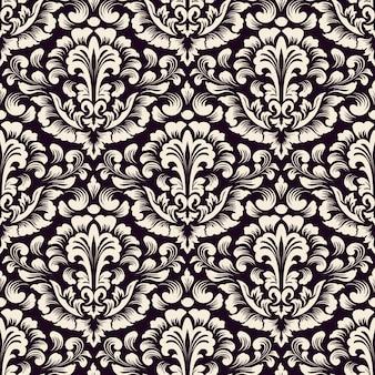ダマスク織のシームレスなパターン背景。古典的な豪華な昔ながらのダマスク織の飾り、壁紙、テキスタイル、ラッピングのロイヤルビクトリア朝のシームレスなテクスチャ。絶妙な花のバロックテンプレート。
