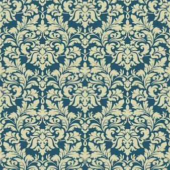 Дамаст бесшовные модели фона. классический роскошный старинный дамасский орнамент, королевская викторианская бесшовная текстура для обоев, текстиля, оклейки.