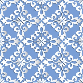 Damask seamless pattern background. elegant luxury texture for wallpapers, backgrounds and page fill. 3d elements with shadows and highlights. paper cut.