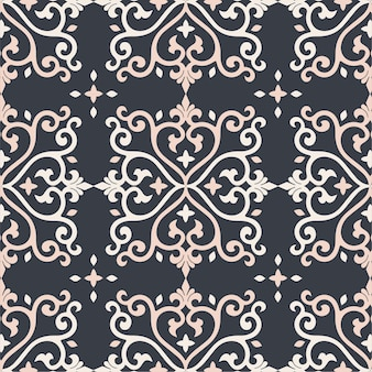 Дамаск бесшовные узор фона золото и черная плитка текстуры
