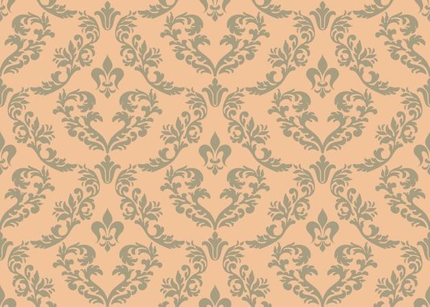 ダマスク織のシームレスなパターンの背景。ロイヤルビクトリア朝のシームレスな壁紙