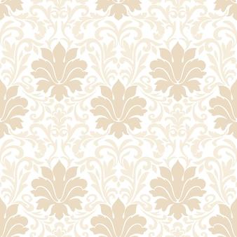 ダマスク織のシームレスパターン。古典的な豪華な昔ながらのダマスク織の飾り、壁紙、テキスタイル、ラッピングのための王室のビクトリア朝のシームレスなテクスチャ。