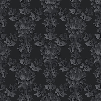 Damask seamless pattern dark background