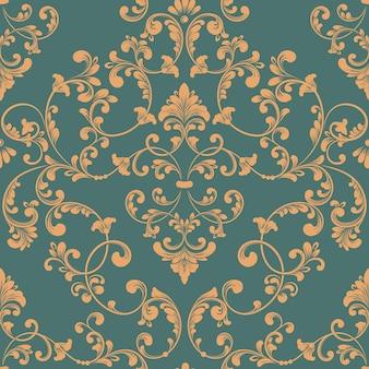 ダマスク織のシームレスなパターン要素。古典的な豪華な昔ながらのダマスク織の飾り