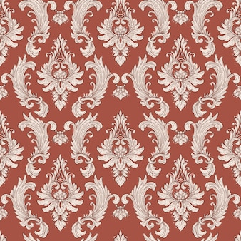Damask seamless pattern element. vector classical luxury old fashioned damask ornament, royal victorian seamless texture for wallpapers, textile, wrapping. vintage exquisite floral baroque template.