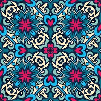 다 완벽 한 패턴 동양 타일 꽃 모티브. 벽지, 배경, 디자인 장식, 세라믹, 페이지 채우기 등에 사용할 수 있습니다.