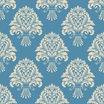 ダマスク織のシームレスパターンを印刷する準備ができました。古典的な豪華な昔ながらのダマスク織の飾り