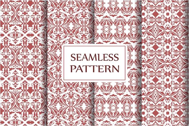 ダマスクシームレスパターンセット。壁紙、テキスタイル、ラッピングのためのロイヤルビクトリア朝のシームレスなテクスチャ