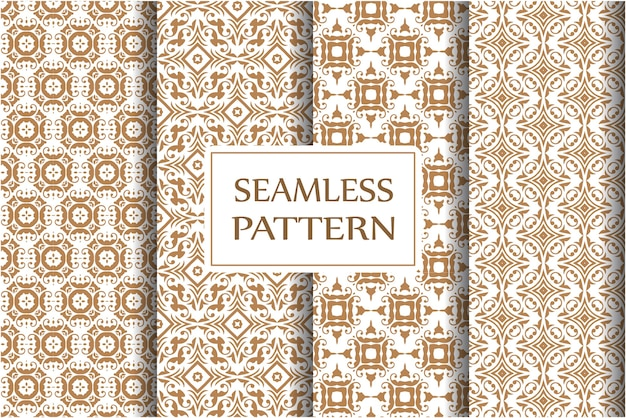 Damask seamless pattern set for wallpapers, textile, wrapping