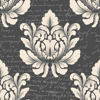 Damask seamless pattern with ancient text. classical luxury old fashioned damask ornament, royal victorian seamless texture for wallpapers, textile.