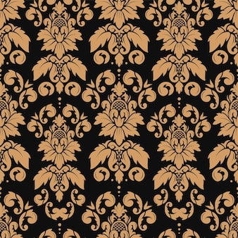 Damask seamless pattern with gold luxury elegant floral ornament baroque wallpaper design