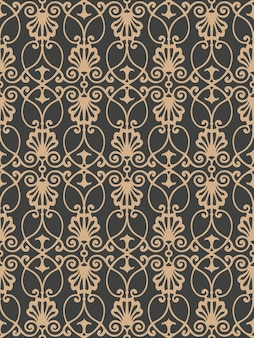 Damask seamless retro pattern background botanic garden spiral curve cross frame chain vine flower.