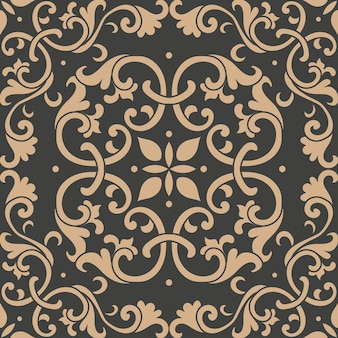 Damask seamless retro pattern background botanic garden spiral curve cross leaf frame vine flower kaleidoscope.